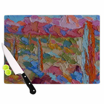 "Jeff Ferst ""Saguaros in Spring"" Blue Multicolor Cutting Board"