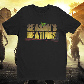 Season's Beatings Christmas Shirt Zombie Apocalypse T-Shirt Walking Walkers Shirt tee Shirt Mens Ladies Womens Youth Kids MLG-1235