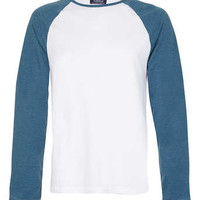 White/Blue Contrast Raglan Long Sleeve T-Shirt - Men's T-Shirts & Vests - Clothing
