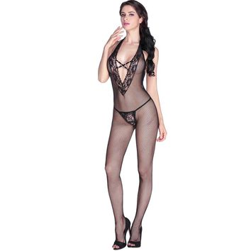 Sexy Women Fishnet Body Stocking Sheer Bodysuit Halter Hollow Out Deep V-Neck Backless Stretch Slim Lingerie Nightwear Black