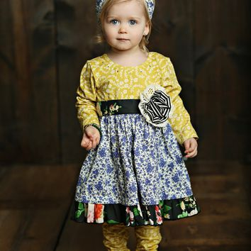 2018 Fall Mustard Pie English Blue Olivia Dress Set