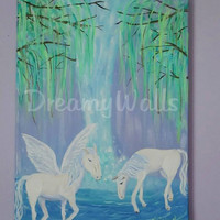 Pegasus Painting, pastel colors, 11x14, girls fantasy art, Waterfall