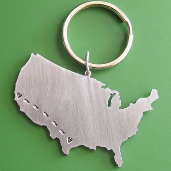Custom Long Distance Love Keychain by sudlow on Etsy
