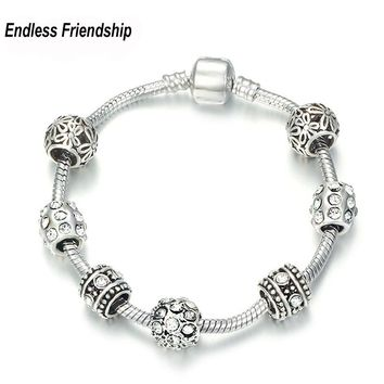 AAA Zircon Charm Bracelet for Women Fit Pandora Bracelet & Bangles Jewelry DIY Making Accessories