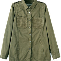 ROMWE | Sleeves Buttoned Pocketed Loose Army-green Coat, The Latest Street Fashion