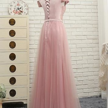 Pink Bridesmaid Dresses Off the Shoulder Sweetheart Prom Gowns honor with Pleats Long