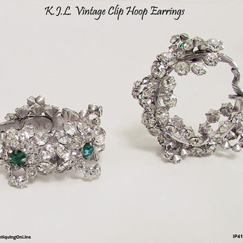 Vintage KJL Emerald Clear Hoop Earrings 1960s to 1970s Kenneth Jay Lane Clip On Green Clear Hoop Earrings