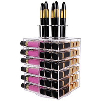 Langforth Spinning Lipstick Tower Premium Acrylic Rotating Lipgloss Holder Makeup Organizer 81 Slot