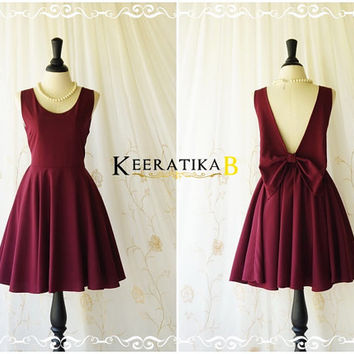 A Party Angel Dress Maroon Red Party Dress Backless Prom Dress Bow Back Cocktail Dress Maroon Wedding Bridesmaid Dresses XS-XL