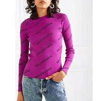 BALENCIAGA Autumn Winter Fashion Women Jacquard Long Sleeve Knit Multicolor Sweater Top Rose Red