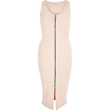 River Island Womens Nude jersey zip front bodycon midi dress