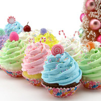 Sugar Plum Fairy Candy Land Fake Cupcakes Set 10 Mini Cupcakes Candy Land Birthday/Christmas Decor Gumdrops/Candy Canes/Peppermint/Cherries