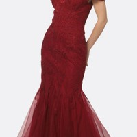 Embellished Lace Off the Shoulder Burgundy Mermaid Prom Dress
