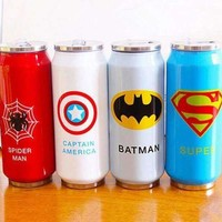 New Heros League Vacuum Flasks Straw Water Bottle 450ml Stainless Steel Thermos Mug Beverage Can Thermocup 1pc