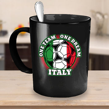 Italy Soccer Coffee Mug 11 or 15oz White or Black Ceramic Cup, Soccer Gift, Italian Flag, Soccer Gift Idea, Gift for Soccer Player