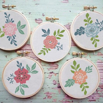 flowers cross stitch pattern modern, set pattern, counted cross stitch easy, floral cross stitch chart, PDF pattern, instant download
