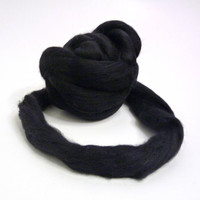 Black Merino super fine wool Top / Roving  really soft (19 mic)
