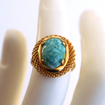 Speckled Aqua Blue Scarab Ring Adjustable Vintage Glass Cabochon with Etched Egyptian Beetle Design