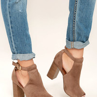 Sharri Taupe Suede Peep-Toe Booties