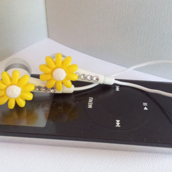 Mellow Yellow Daisy Flower earbuds with Swarovski crystals
