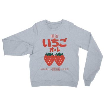 Meiji Strawberry Unisex California Fleece Raglan Sweatshirt