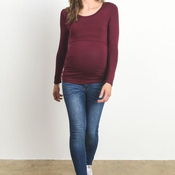 Double Layer Long Sleeve Maternity/Nursing Top
