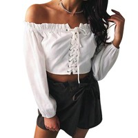 Off Shoulder Womens Sexy Crop Tops Long Sleeve Crocheted Summer Blouse 2018 Workout Fitness Ladies Lace Up Sweat Shirts Femme