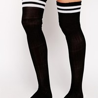 ASOS 2 Stripe Over The Knee Socks at asos.com