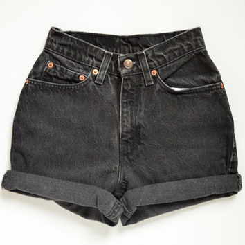 "vintage 90s LEVIS 512 high waisted shorts /  faded black denim / cuffed hem / size 23"" waist"