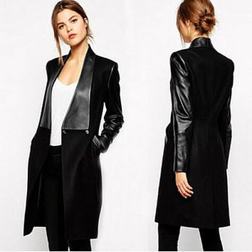 new women s wool coat fashion petal edges slim jacket