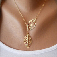 Jewelry 2016 New Gold Plated Two Leaf Pendants Necklace Chain multi layer statement necklaces Woman Gift SALE