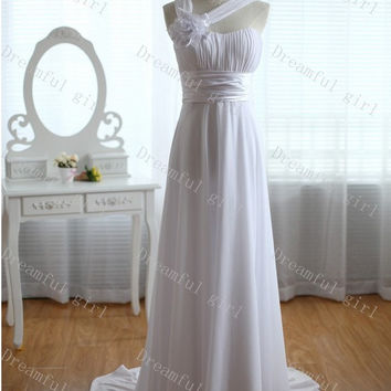 Straps sleeveless floor-length with sash and flowers chiffon long wedding dress for spring