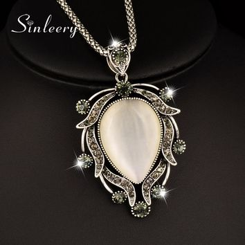 SINLEERY Vintage Big Opal Drop Pendant Necklace Antique Silver Color Long Necklace Charm Jewelry For Femmale Party Dress MY029