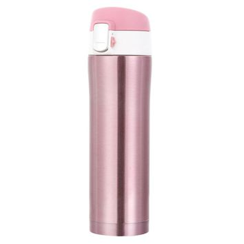 450ml Pink Coffee Thermal Cup Stainless Steel Insulated Thermal Coffee Mug with Lid Travel Drink Water Bottle