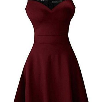Burgundy Patchwork Lace Pleated Bodycon Round Neck Party Midi Dress