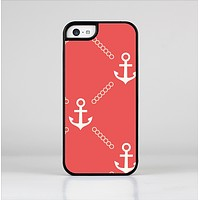 The Coral & White Vintage Solid Color Anchor Linked Skin-Sert Case for the Apple iPhone 5c
