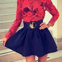 Sheer Floral Lace Black Skater Dress