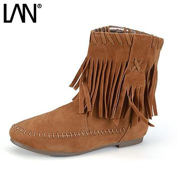 Autumn Winter Martin Boots Cotton-padded Flats Women Ankle Boots Fashion Sweet Tassel Fringe Slip On