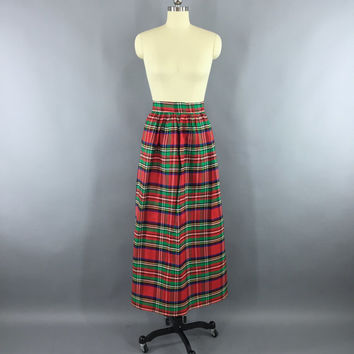 Shop Red Plaid Maxi Skirt on Wanelo
