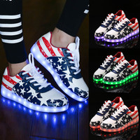 Fashion Unisex Lace Up LED Light Luminous Shoes Sportswear Sneaker Casual Shoes