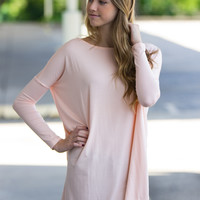 The Perfect Piko Tunic Top-Light Peach