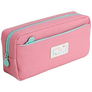 Samaz Large Capacity Canvas Pen Pencil Case Stationery Pouch Bag Case Cosmetic Bags (Pink)
