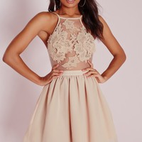 Missguided - Lace Applique Detail Skater Dress Nude