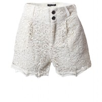 High-Waist Lace Shorts with Two Button Front