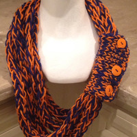 University Of Florida Florida Gators Finger Knit Infinity Eternity Circle Chunky Winter Scarf