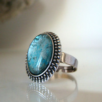 Turquoise Blue silver statement ring handpainted glass jewelry Large oval faux stone ring Adjustable Alcohol ink jewelry Costume jewelry
