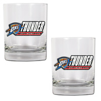 NBA Oklahoma City Thunder 2 piece Rocks Glass Set