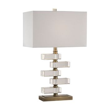 Spilsby Contemporary Stacked Crystal Block Table Lamp by Uttermost