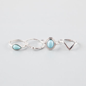 Full Tilt 4 Piece Mint Stackable Rings Silver  In Sizes