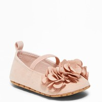 Sueded Flower-Petal Ballet Flats for Baby|old-navy